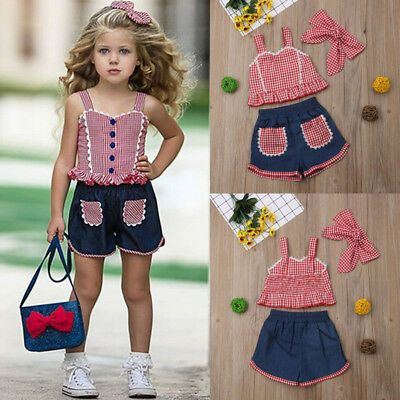 3PCS Toddler Kids Baby Girls Clothes Outfits T-shirt Tops +Denim Jeans Pants Set
