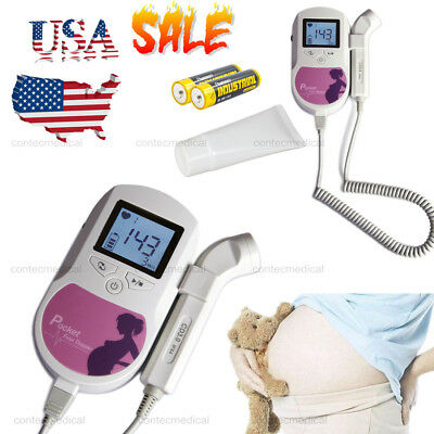 USA!!Baby Sound C Pocket Fetal Doppler Prenatal Baby Heart LCD Monitor 3MHZ+ GeL