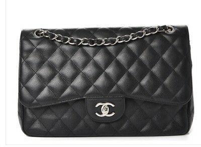01784927db82 CHANEL Classic Black Caviar Silver Chain Quilted Jumbo Double Flap Bag