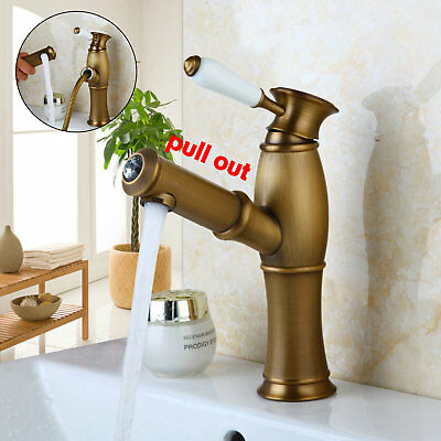 Pull Out Bathroom Antique Brass Kitchen Sink Faucet Tap Mixer Ceramics Handle
