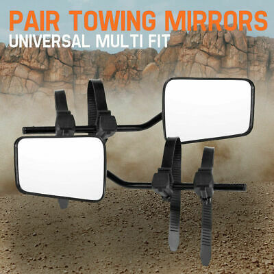 Towing Mirrors 2x Universal Multi Fit Strap On Towing Cars 4x4s Caravan Black