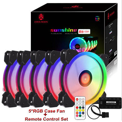 5 pack of Game Eclipse Max  RGB 16.8 Million Colours LED Ring PC 12cm Case Fan
