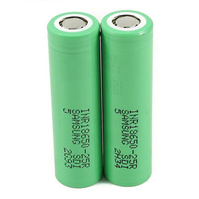 For Samsung INR18650-25R 3.7V Drain Flat Top Rechargable Battery 2500mAh LS
