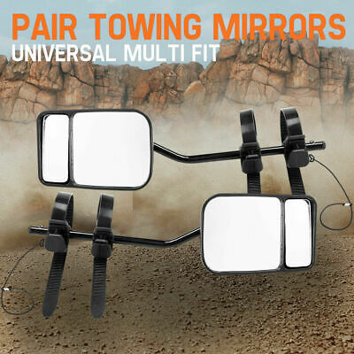 Towing Mirrors 2x Strap On Towing Cars 4x4s Caravan Black Universal Multi Fit
