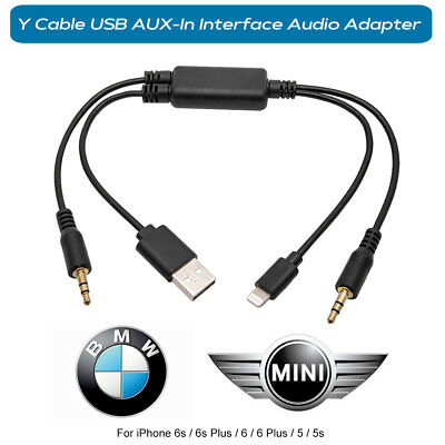 Lightning Y Cable BMW MINI USB AUX-In Interface Audio Adapter iPhone 6 6s Plus