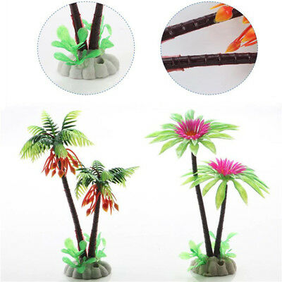 Aquarium Fish Tank Plastic Coconut Tree Plants Water Grass Decoration Ornament
