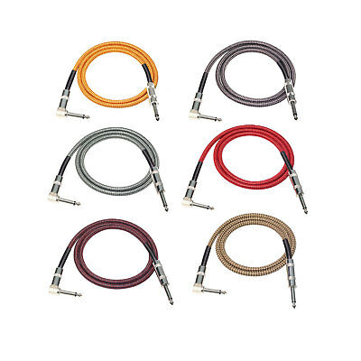 10ft 3M Guitar Cable Instrument Lead Right Angle Jack Noiseless Studio Series UK