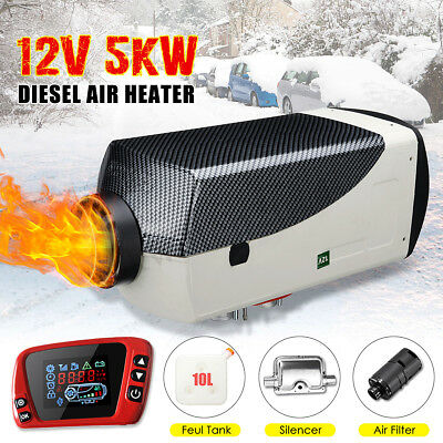 5KW 12V Diesel Air Heater New LCD Thermostat Quiet For Trucks Boat Cars Trailer