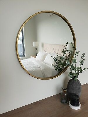 Round metal framed wall mirror Luxe Brass / Gold 60cm diam. feature or bathroom