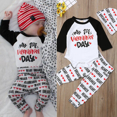 US Newborn Baby Boys Girls My 1st Valentines Day Cotton Romper Pants Hat Outfit