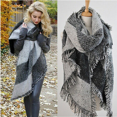 1040cca6d Womens Long Cashmere Winter Wool Blend Soft Warm Scarf Wrap Shawl Plaid  Scarf