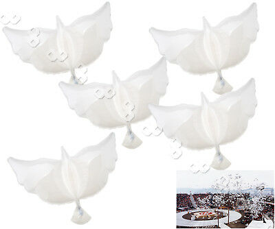 5 x White Inflatable Fly Dove Helium Foil Balloons Party Memorial Ceremony Decor