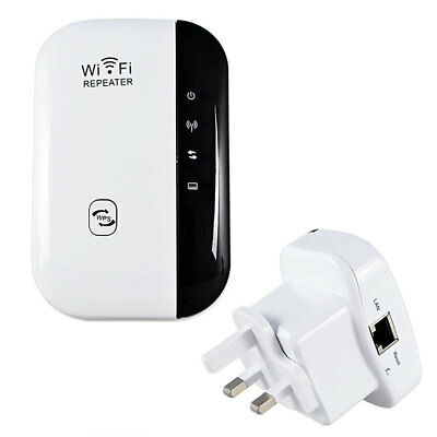 New 300Mbps WiFi Repeater Wireless Router Range Extender Signal Booster WPS UK
