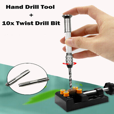 Mini Micro Hand Drill Chuck with 10pcs Twist Drill Bit Jewelry Craft DIY Tool UK
