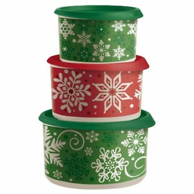 Tupperware 3 Piece Holiday Snow Place Like Home Cookie Canister Set Brand New