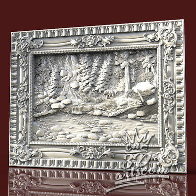 3D Model STL for CNC Router Artcam Aspire Forest Bear Panel Animal Cut3D Vcarve