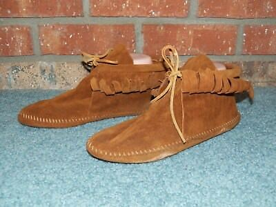 VTG Minnetonka BOHO HIPPIE Moccasin Suede Fringe Ankle Boot Brown Leather 8