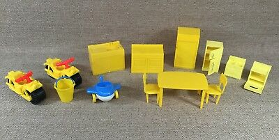 Lot Plastic Doll House Kitchen Furniture Some Mpc And Random Vehicles