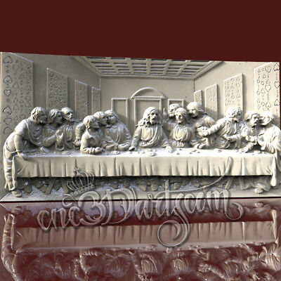 3D Model STL 4 CNC Router Artcam Aspire Religion Jesus Dinner Panel Cut3D Vcarve