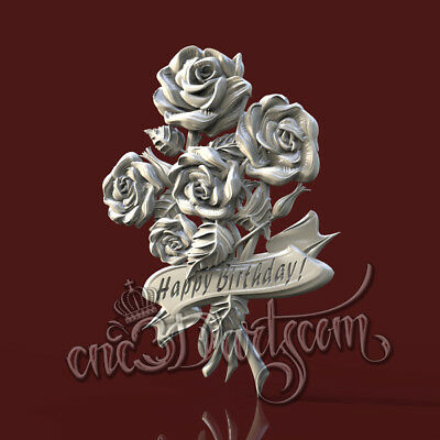 3D Model STL for CNC Router Artcam Aspire Roses Rose Birthday Panel Cut3D Vcarve