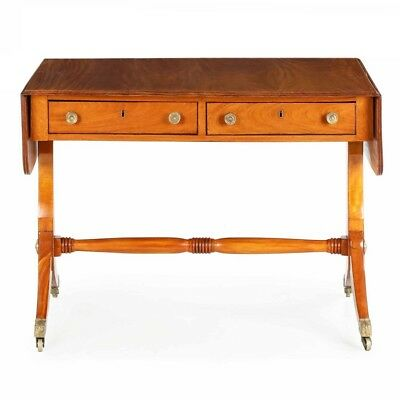 English Regency Period Satinwood Antique Sofa Table Console, England c. 1815-25