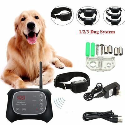 Fr 1/2/3 dogs Wireless Electric Dog Fence Containment System Waterproof Collar C