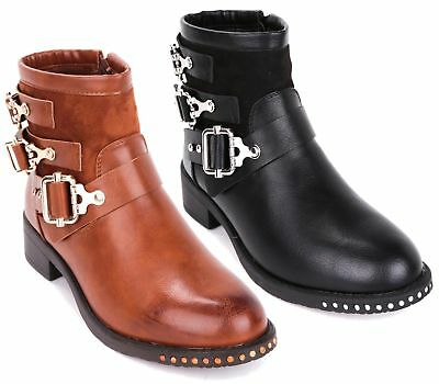 fa279d7284aa Womens Ladies Ankle Zip Buckle Chelsea Block Heel Studs Shoes Ankle Boots  Sizes