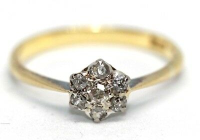 Pretty Antique Victorian 18 ct yellow gold diamond cluster daisy set ring size K