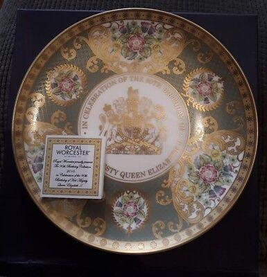 Queen Elizabeth Royal Worcester 90th Birthday Plate; boxed, mint