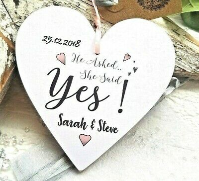 PERSONALISED ENGAGEMENT GIFT Present 12CM Heart Plaque & Gift Bag FREE post