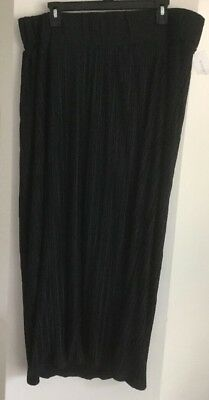 New Liz Lange Maternity Maxi Skirt Size L Black Pleated
