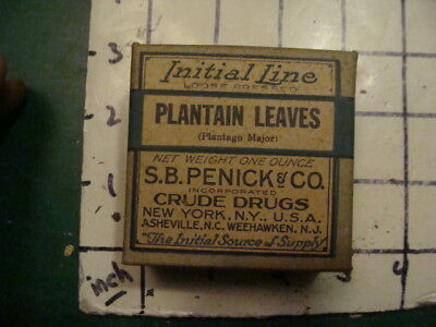 unused old store stock -- S B PENICK & co CRUDE DRUGS -- PLANTAIN LEAVES