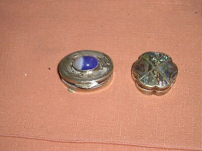Designer Pill Box Vintage Mexico Sterling Silver Inlaid Abalone Signed