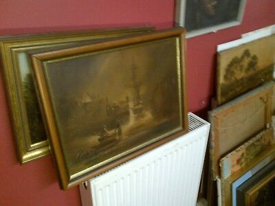 Fine 20th c,English Gilt Framed Oil on Board. Moonlit Harbour Study. Signed.
