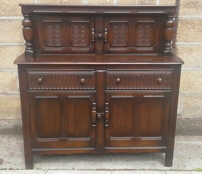 Ercol Dark Oak Elm Top Old Buffet Sideboard Dresser Court Cupboard