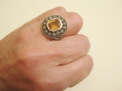 ancienne bague argent massif citrine marcassite T54/antique sterling ring stone