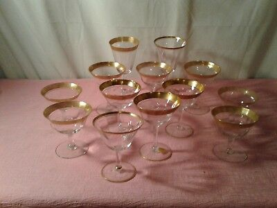 Lot of 13 Assorted Tiffin-Franciscan Glasses Includes 3 Champagne/ Tall Sherbet