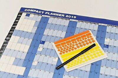 2019 'Compact Year To View' Softback Laminated 13M Wall Calendar Planner - Cypu
