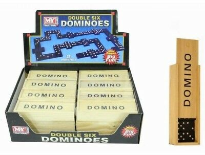 WOODEN KIDS CHILDRENS DOUBLE SIX BLACK DOMINOES TOY GAME SET TRAVEL PARTY BAGS b