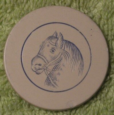 1 engraved horse head antique poker chip