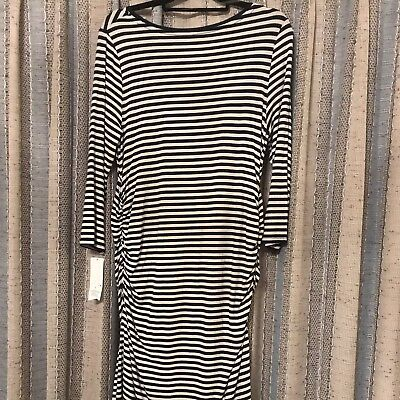 NWT Liz lange Maternity Dress In Navy And White Size XL