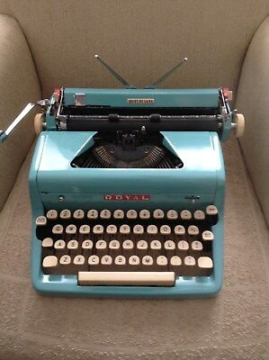 Vintage Royal Blue Teal Aqua Portable Typewriter Quiet Deluxe 1950s MCM