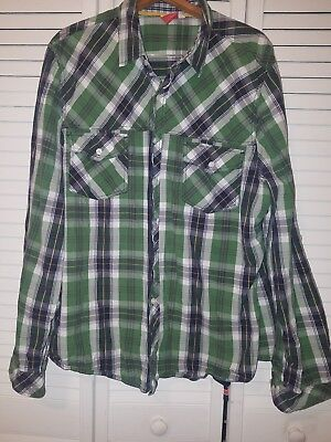 PUMA Sport Lifestyle long sleeve Button Down Size Green Blue Striped Shirt