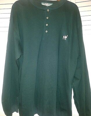 Big Dogs Big Mens Hunter Green Pullover Crew Neck Shirt Long Sleeve 1X NICE