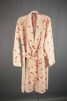 Vtg Men's 1950s 1960s NOS Deadstock Fox Hunting Print Robe sz M 50s 60s #6194