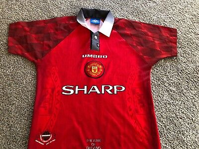 0c39ffdbf Manchester United Umbro Red Theatre Of Dreams Youth Size Large Soccer Jersey