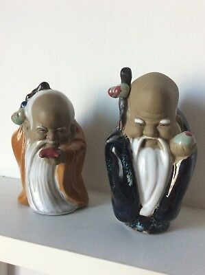 Lot of 2 Vintage Chinese Wise Man  Figures- Shiwan Pottery - RARE