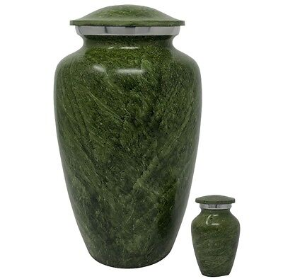 Green Marble Cremation Urn-Handcrafted Adult Funeral Urn for Ashes+Free Keepsake