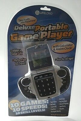 Deluxe Portable Game Player 10 Video Games Calculator & Alarm Clock Travel Size