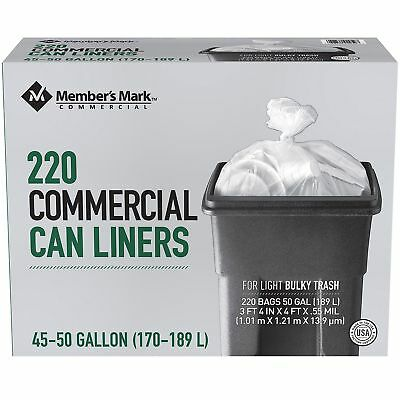 Member's Mark 45-50 Gallon Commercial Can Liners Trash Bags (220 ct.) NEW!